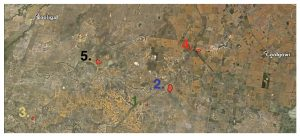 Map of five sites with numbers